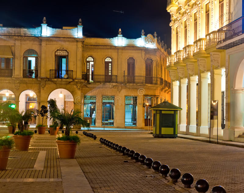 Famous square in Old Havana illuminated at night