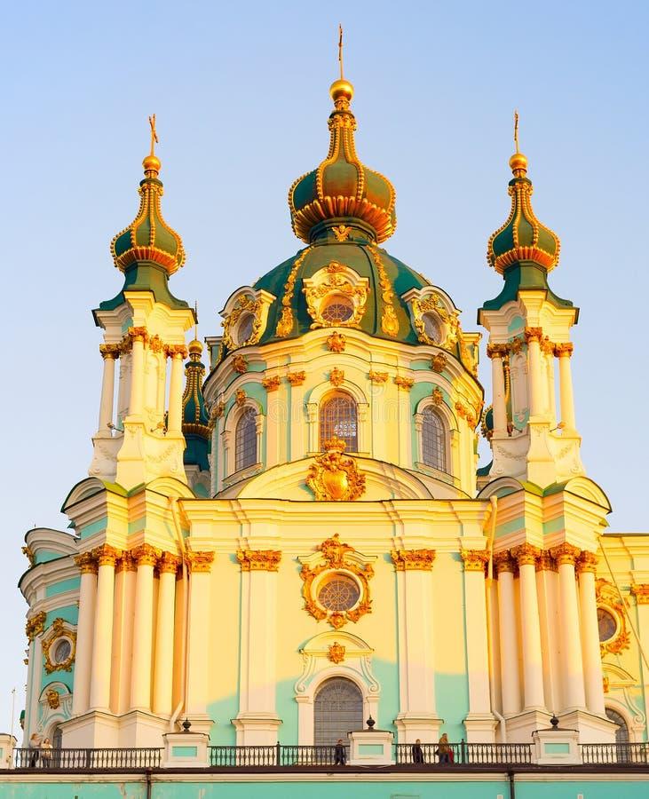 St. Andrews  church Kiev Ukraine. Famous St. Andrews church at sunset. Kiev, Ukraine stock photo
