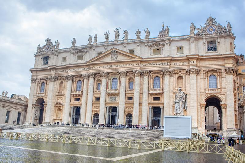 St. Peter`s Basilica. Famous St. Peter`s Basilica in Vatican City royalty free stock photography