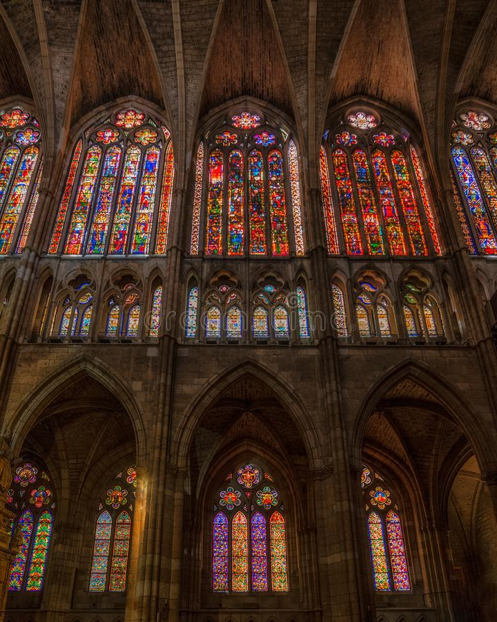 Famous stained glasses at Leon cathedral, Castilla y Leon stock photography