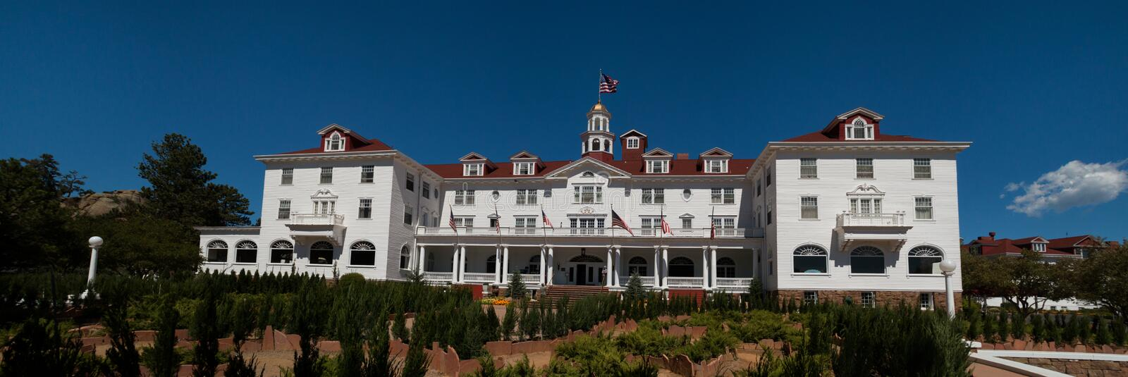 Famous Stanley Hotel in Estes Park, Colorado. The famous Stanley Hotel in Estes Park, Colorado, of the Rocky Mountain National Park was built by Freelan Oscar royalty free stock image