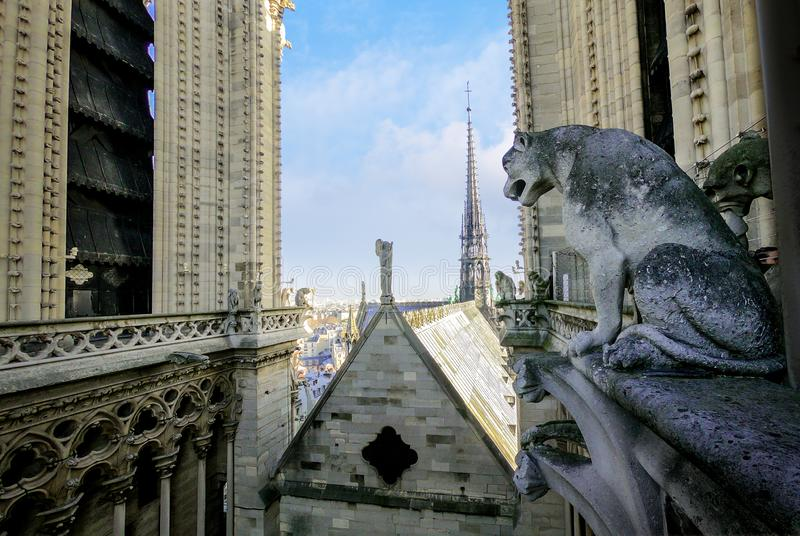 Authentic spire and wood roof of Notre Dame Cathedral from above in 2018 before of fire damage and restoration. The 19th-century royalty free stock image