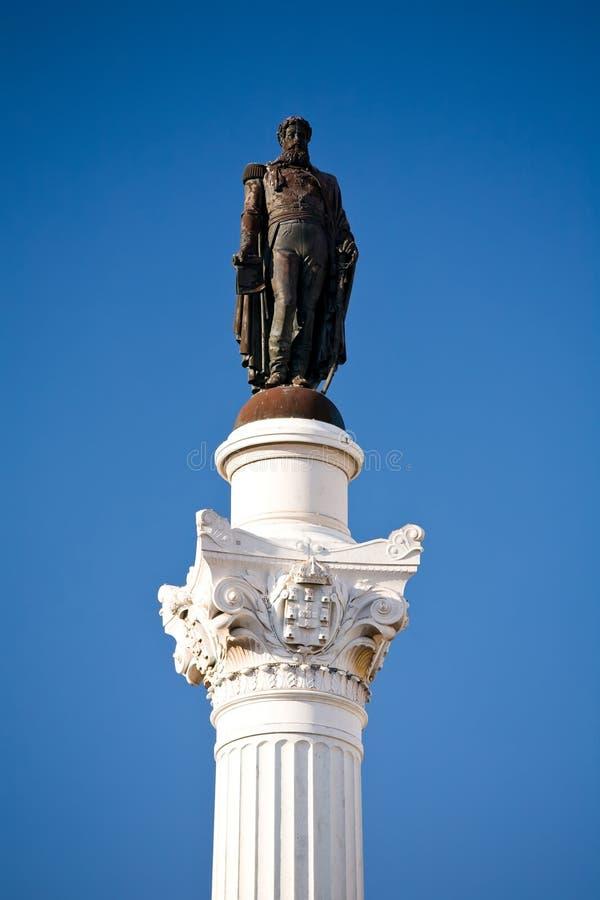 Famous statue of Pedro IV at Rossio Square stock photo
