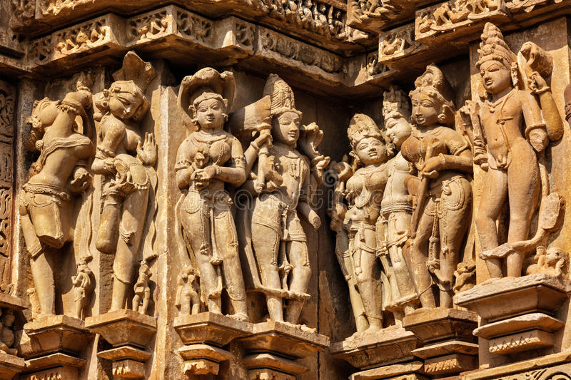 Famous stone carving sculptures of khajuraho stock photo