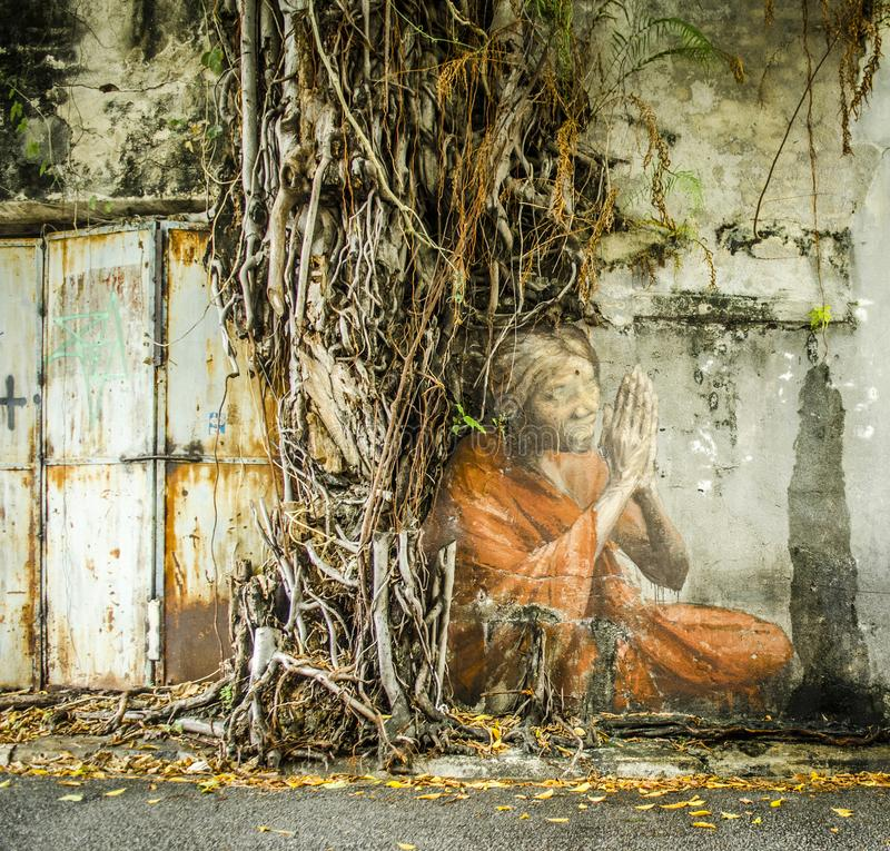 Famous street art in George Town, Penang, Malaysia royalty free stock photo
