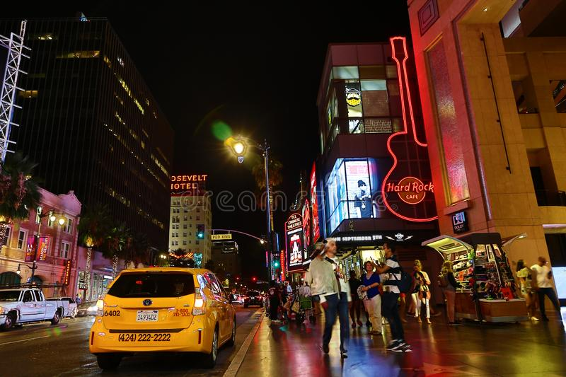 Boulevard and the movie VENOM. The famous street in Los Angeles on the day of the release of VENOM.Hollywood Boulevard is a major east–west street in Los royalty free stock photo