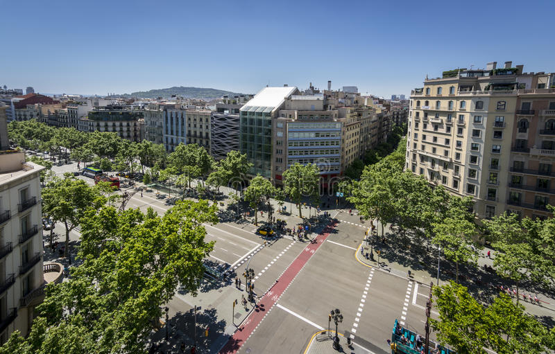 Famous street of Passeig de Gracia in Barcelona, Spain. Fisheye photography of Famous street of Passeig de Gracia in Barcelona, Spain. Aerial view of the most royalty free stock photography