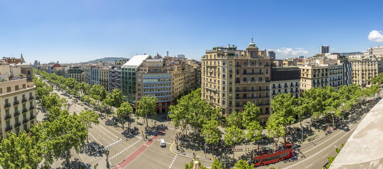 Famous street of Passeig de Gracia in Barcelona, Spain. Panoramic photography of Famous street of Passeig de Gracia in Barcelona, Spain. Aerial view of the most stock images