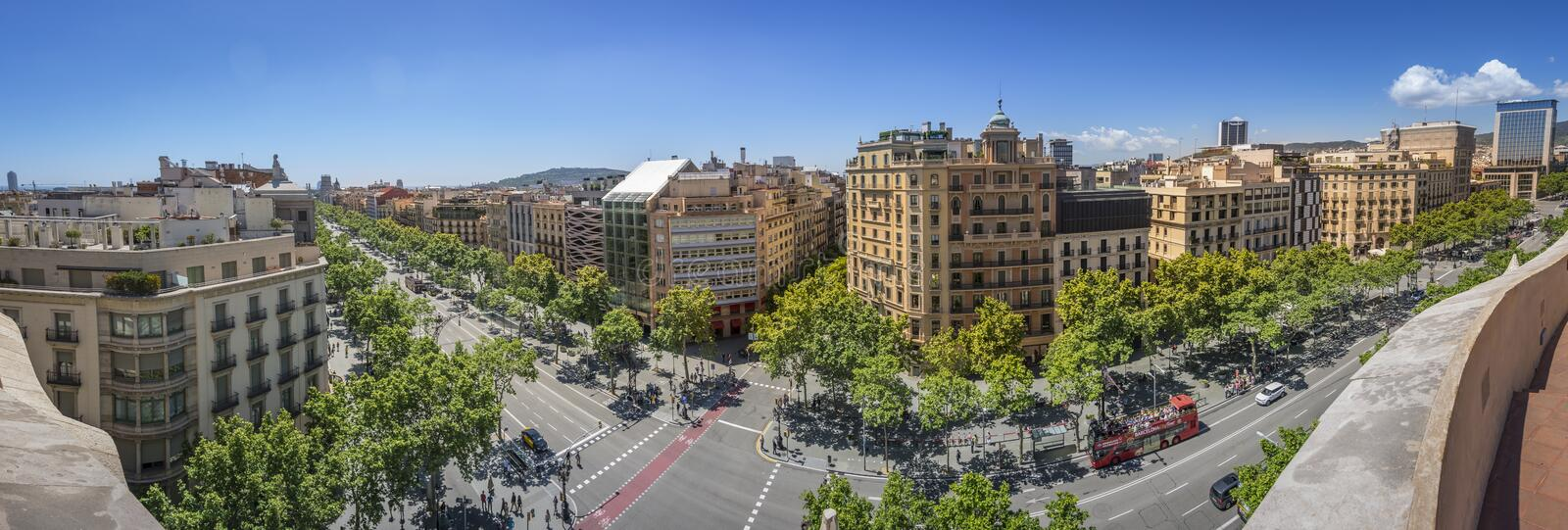 Famous street of Passeig de Gracia in Barcelona, Spain. Panoramic photography of Famous street of Passeig de Gracia in Barcelona, Spain. Aerial view of the most stock photo