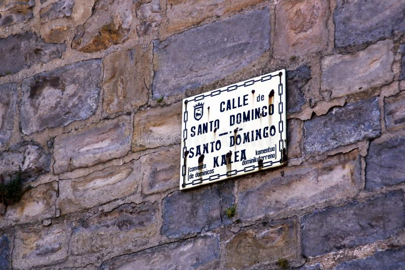 The famous street of Santo Domingo, in the city of Pamplona. royalty free stock photo