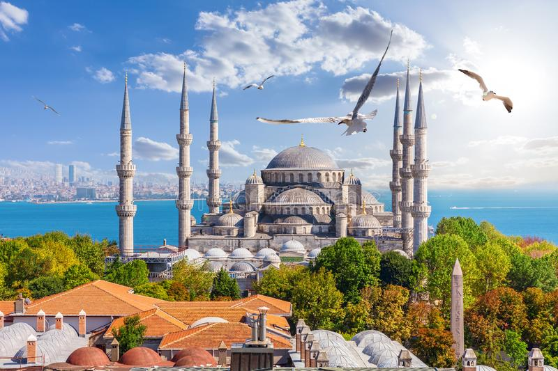 Famous Sultan Ahmet Mosque in Istanbul, Turkey.  royalty free stock images
