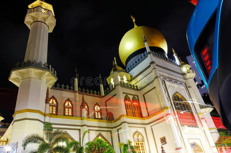 The Famous Sultan Mosque Singapore at Night. The Famous Sultan Mosque Singapore. Masjid Sultan Singapore is is a mosque located at Muscat Street and North Bridge stock photography