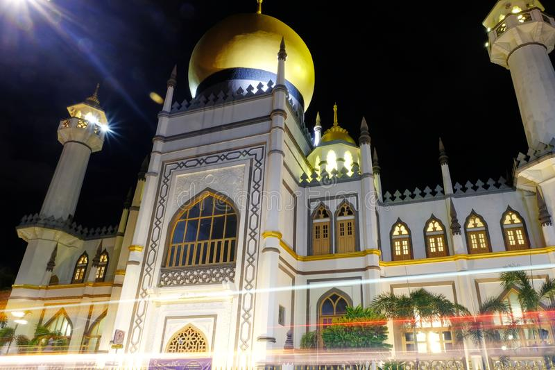 The Famous Sultan Mosque Singapore at Night. The Famous Sultan Mosque Singapore. Masjid Sultan Singapore is is a mosque located at Muscat Street and North Bridge royalty free stock photos