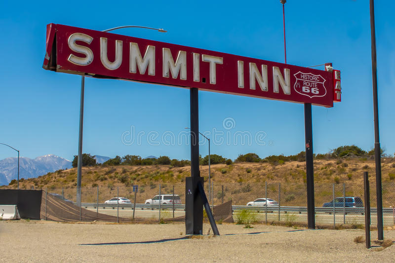 Famous Summit Inn sign on route 66 royalty free stock image