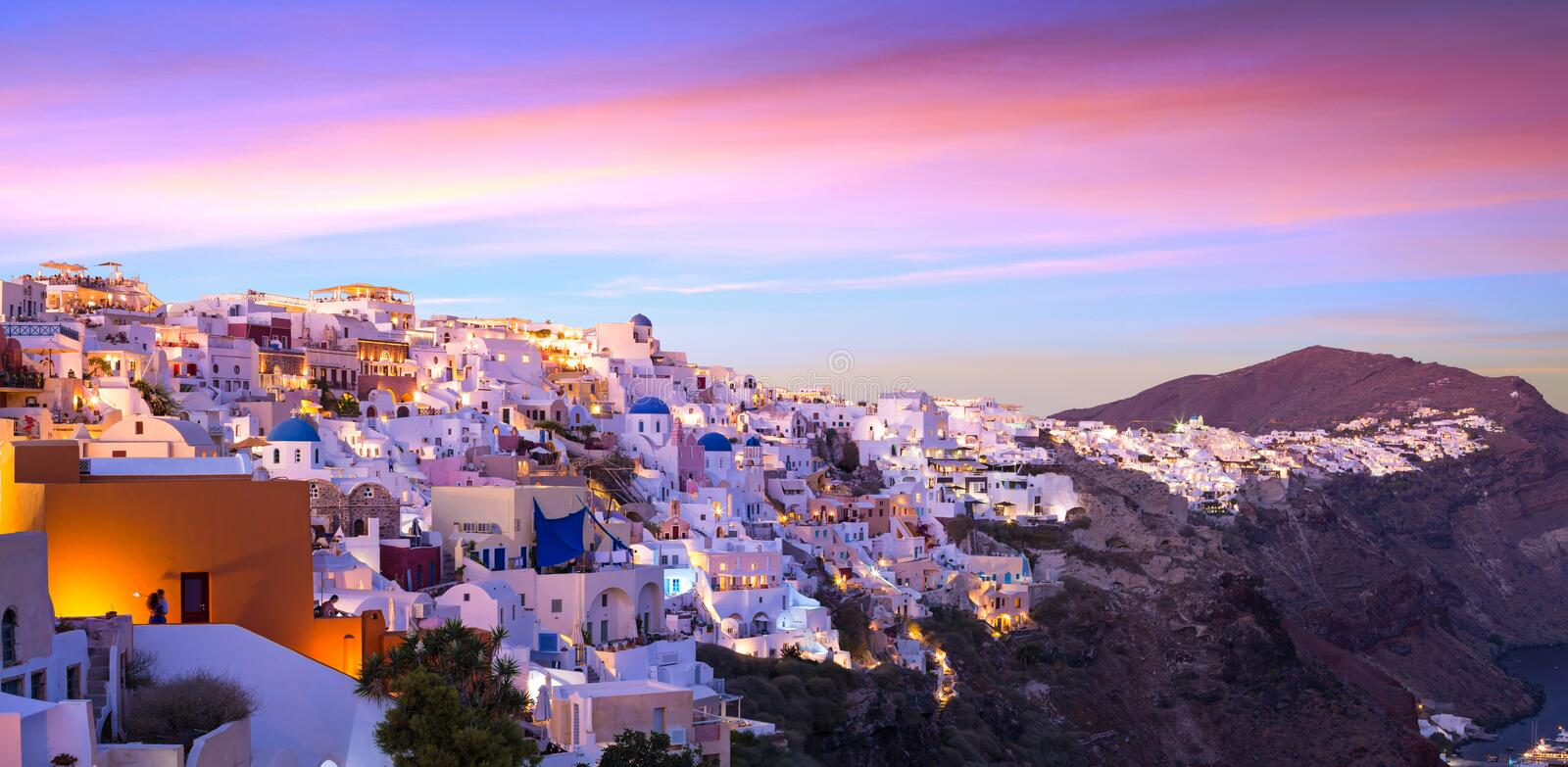 Download The Famous Sunset At Santorini In Oia Village Stock Photo - Image of europe, architecture: 106920130