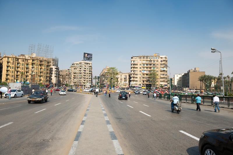 The famous Tahrir square in Cairo. Egypt. Tahrir square - place there thousands of protesters made Egyptians uprising in January 2011 royalty free stock image