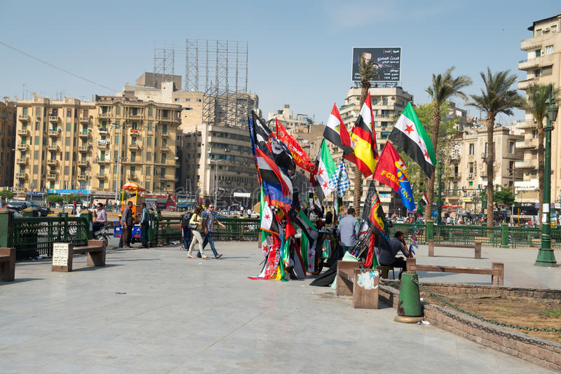 The famous Tahrir square in Cairo. Egypt. Tahrir square - place there thousands of protesters made Egyptians uprising in January 2011 stock photos