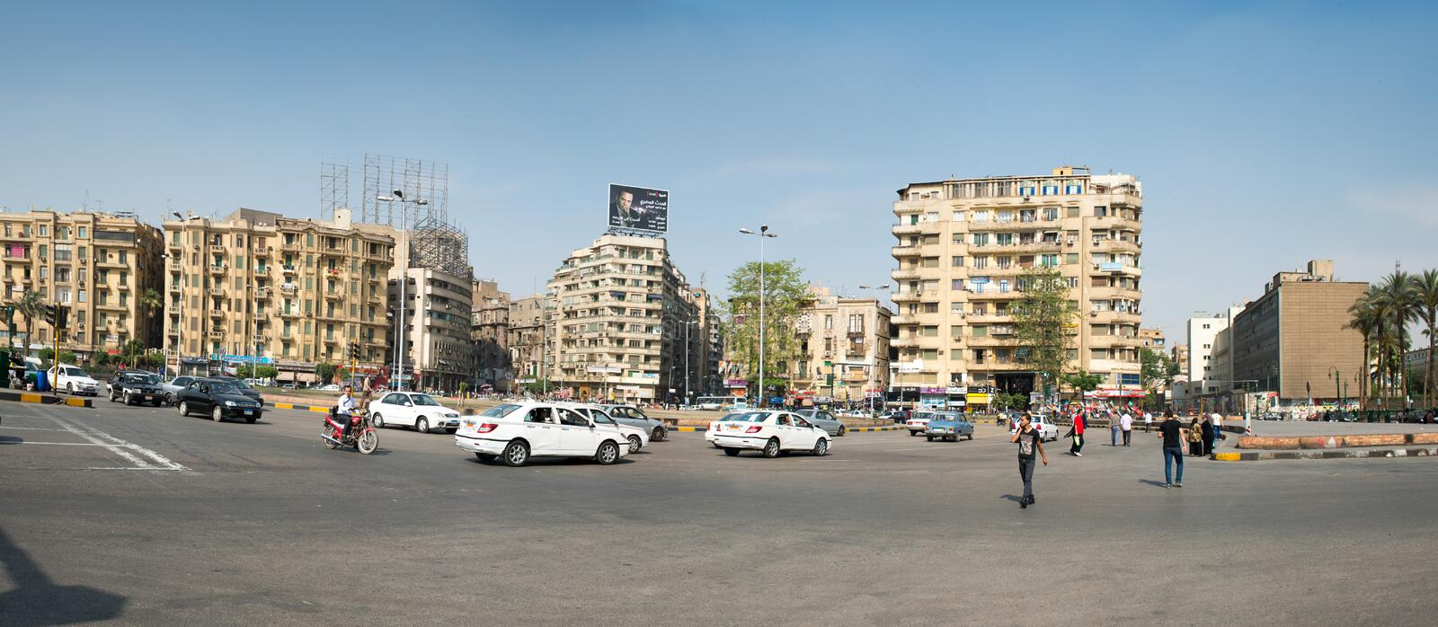 The famous Tahrir square in Cairo. Egypt. Tahrir square - place there thousands of protesters made Egyptians uprising in January 2011 stock image