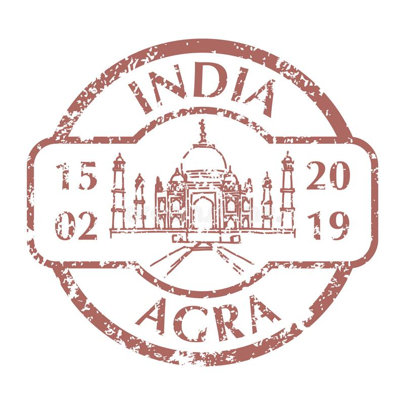 Taj Mahal on Grunge Postal Stamp. Famous Taj Mahal in Agra on Grunge Postal Stamp. Vector illustration stock illustration
