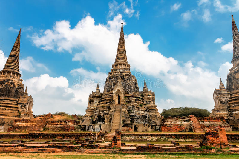 Famous temple area Wat Phra Si Sanphet, Former capital of Thailand in Ayutthaya stock image
