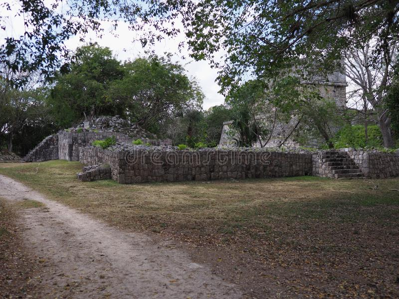 Famous temple of the Deer pyramid at Chichen Itza mayan town at Mexico royalty free stock image
