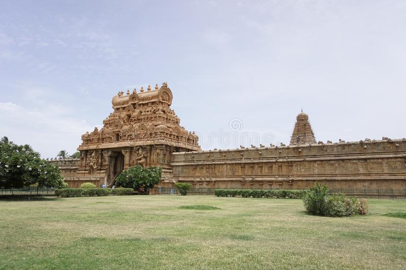 Famous Temples in India - Thanjavur Temple Image-4. This is famous Temple in the world. Located in Thanjavur Tamilnadu, India. One of the greatest King was built stock images