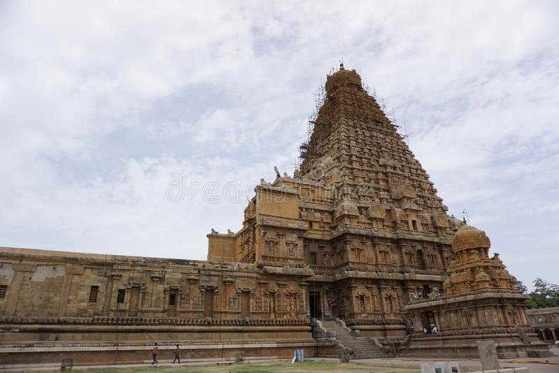 Famous Temples in India - Thanjavur Temple Image-1. This is famous Temple in the world. Located in Thanjavur Tamilnadu, India. One of the greatest King was built stock photo