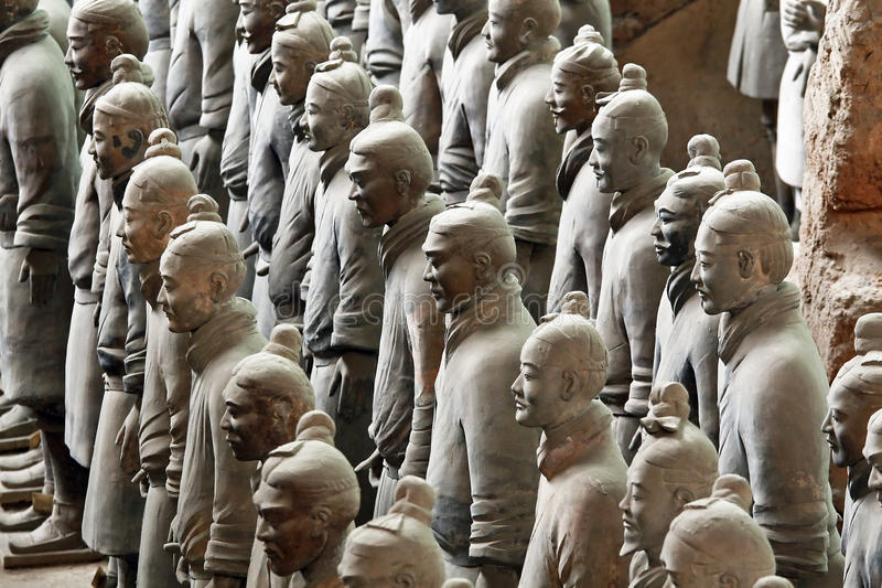 Famous terracotta warriors in Xian, China. The famous terracotta warrior of emperor Qin Shihuang from the first feudal dynasty Qin stock photos