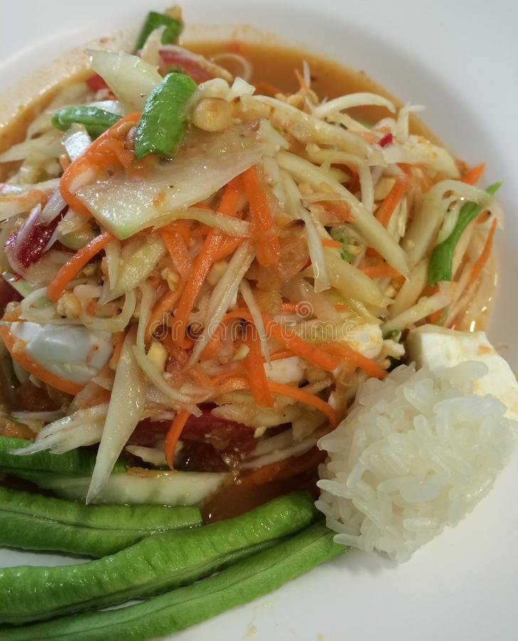 Famous Thai food, papaya salad or what we called Somtum in Thai. Culture stock image