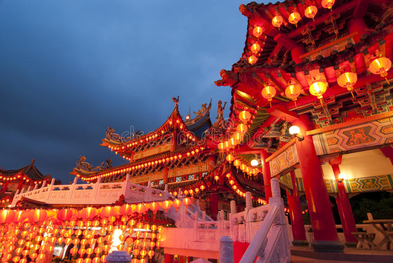 famous thean hou temple in malaysia during chinese new year celebration stock photos
