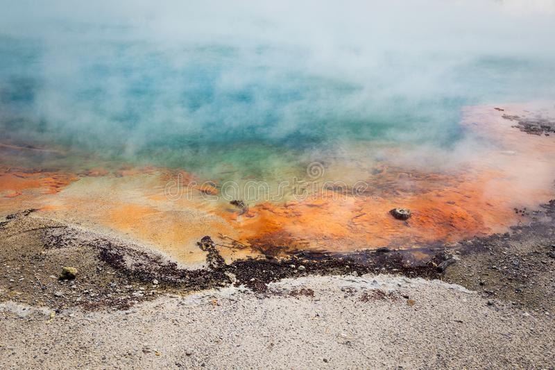 Famous thermal lake Champagne Pool in Wai-O-Tapu thermanl wonderland in Rotorua. New Zealand royalty free stock photo