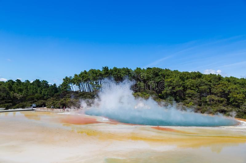 Famous thermal lake Champagne Pool in Wai-O-Tapu thermanl wonderland in Rotorua. New Zealand royalty free stock images