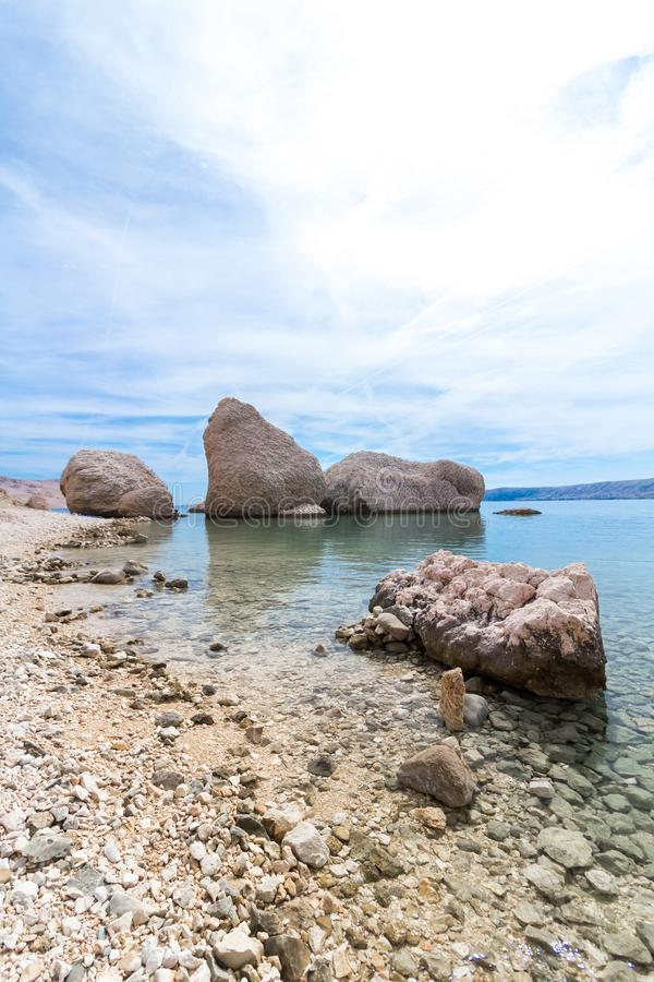 Famous three stones on the Beritnica beach on Pag island, Croatia stock photography