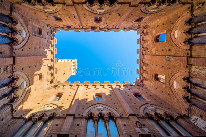 Famous Torre del Mangia in Siena, Italy royalty free stock images