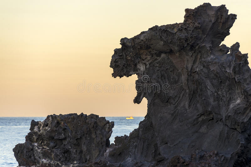 Download Famous Tourist Attraction In Jeju Island Of South Korea. View Of Yongduam Also Known As Dragon Head Rock During Sunset. Stock Photo - Image of beach, landmark: 71747474