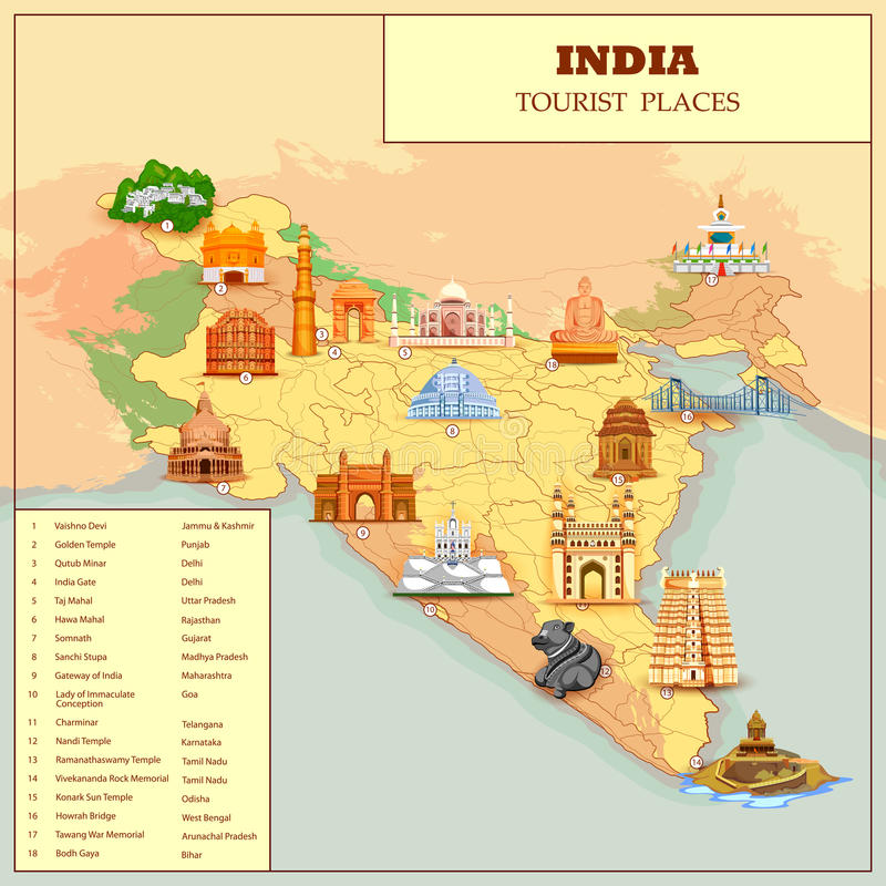 Famous Tourist Attraction Place Map Of India Stock Vector