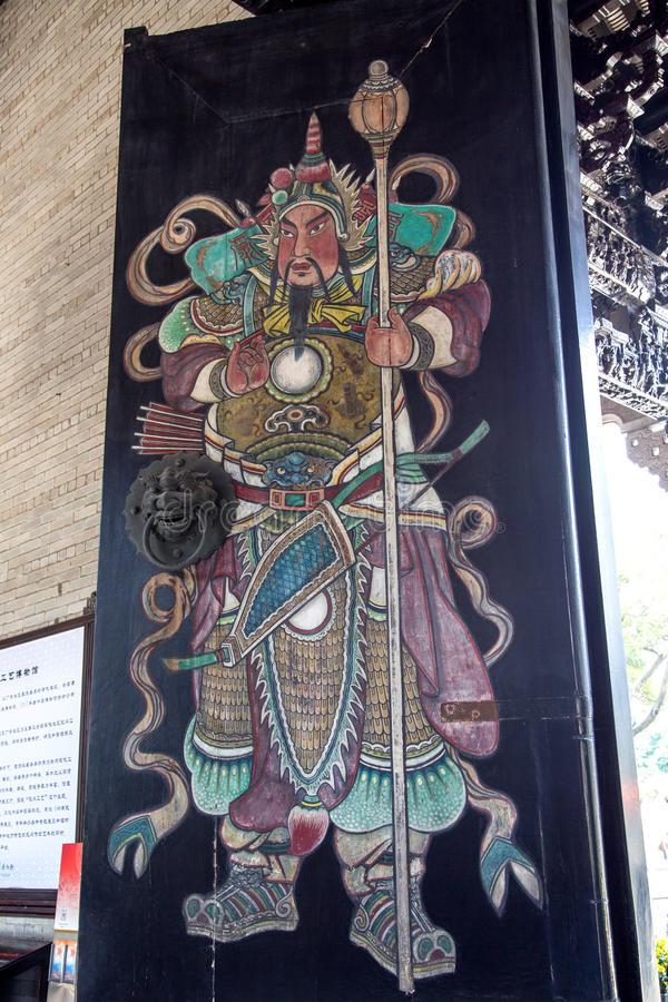 Famous tourist attractions in Guangzhou, Chen ancestral hall, painted figures on the door. Chen Jia CI Tang and Chen Academy said. Built in the fourteen years of royalty free stock images