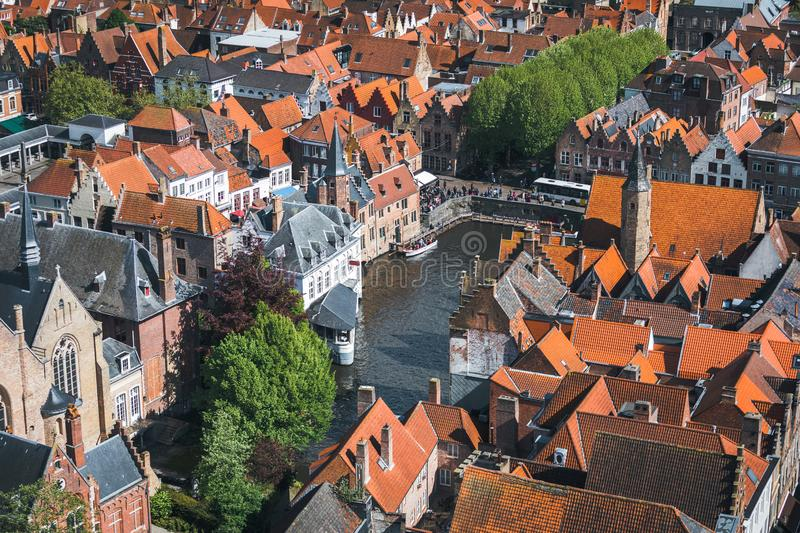 Famous tourist destination for photos in Bruges, Belgium. Aerial view, view from the Belfort tower. Corner of the street where all the tourists take a typical royalty free stock images