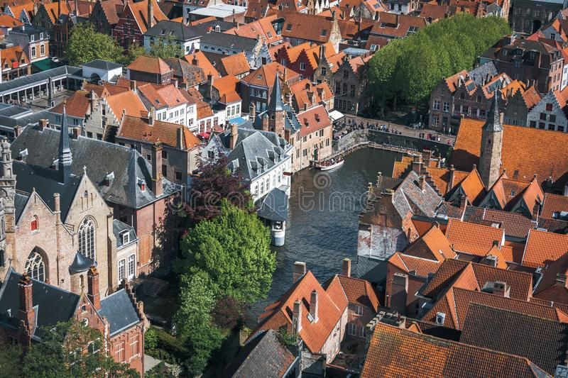 Famous tourist destination for photos in Bruges, Belgium. Aerial view, view from the Belfort tower. Corner of the street where all the tourists take a typical royalty free stock photo