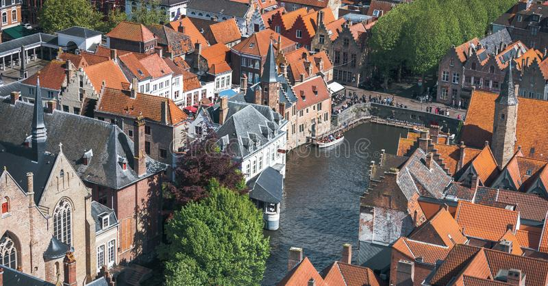 Famous tourist destination for photos in Bruges, Belgium. Aerial view, view from the Belfort tower. Corner of the street where all the tourists take a typical royalty free stock photos