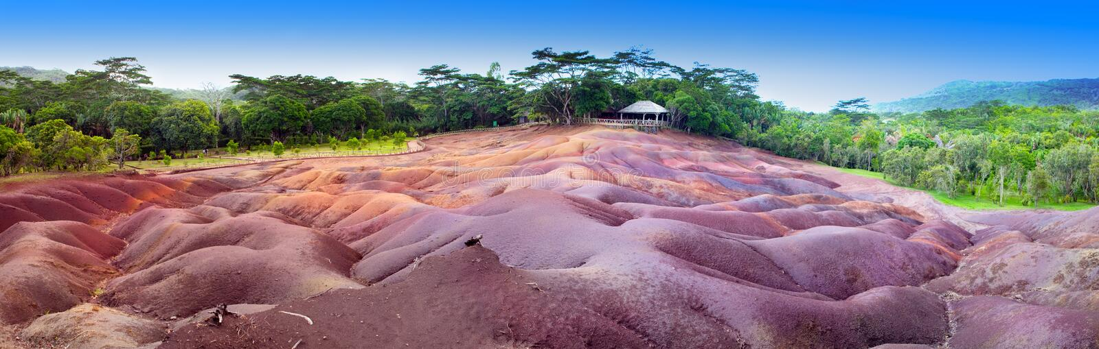 Famous tourist place of Mauritius - earth of seven colors, panorama royalty free stock photo