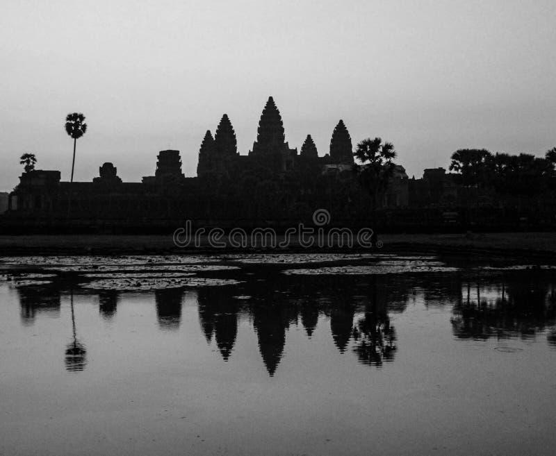Famous and touristic cambodian angkor wat at sunrise. UNESCO world heritage stock image