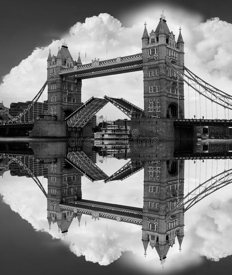Famous Tower Bridge in black and white, London, UK