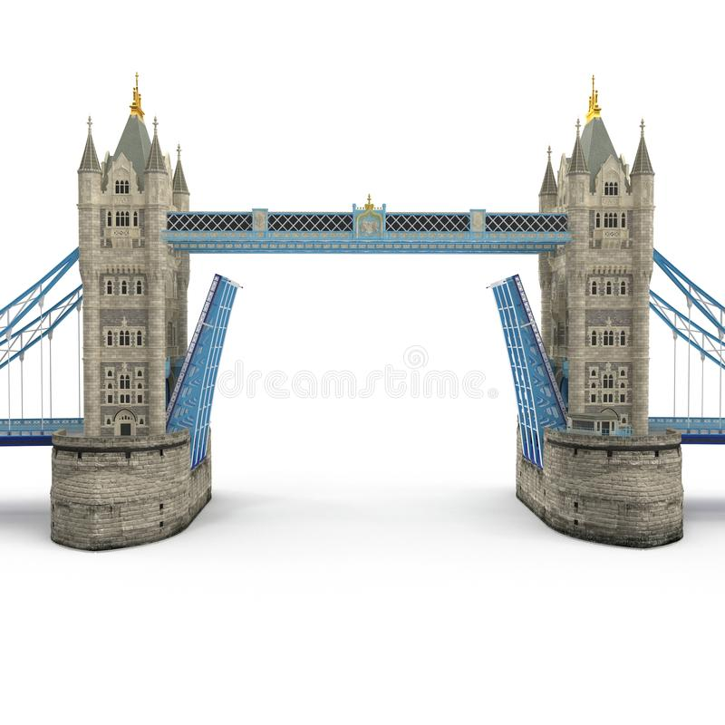 Famous Tower Bridge London, UK on white. 3D illustration stock illustration