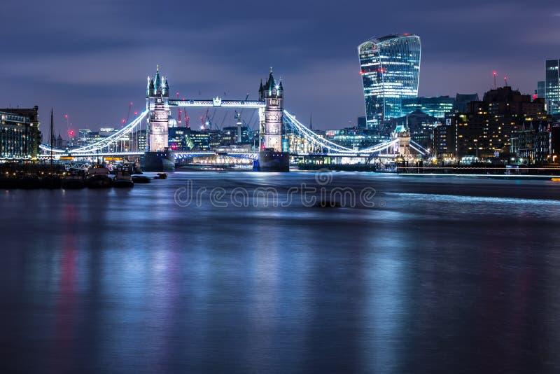 Famous Tower Bridge at night City of London England royalty free stock photo