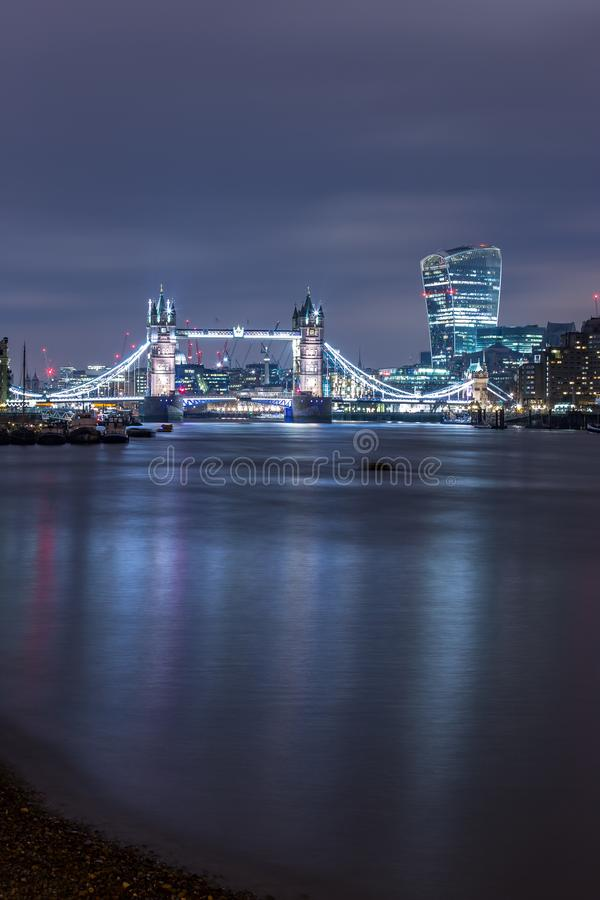 Famous Tower Bridge at night City of London England stock images