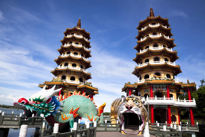 Download Famous Tower And Dragon And Tiger Stock Photo - Image of twin, temple: 19987038