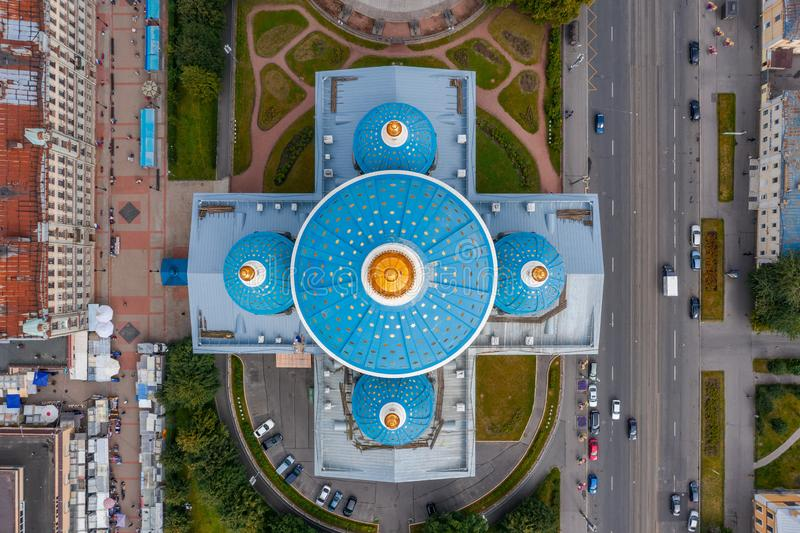 The famous Trinity Cathedral with blue domes and gilded stars, aerial top view of the historic part of the city of Staint- stock photography
