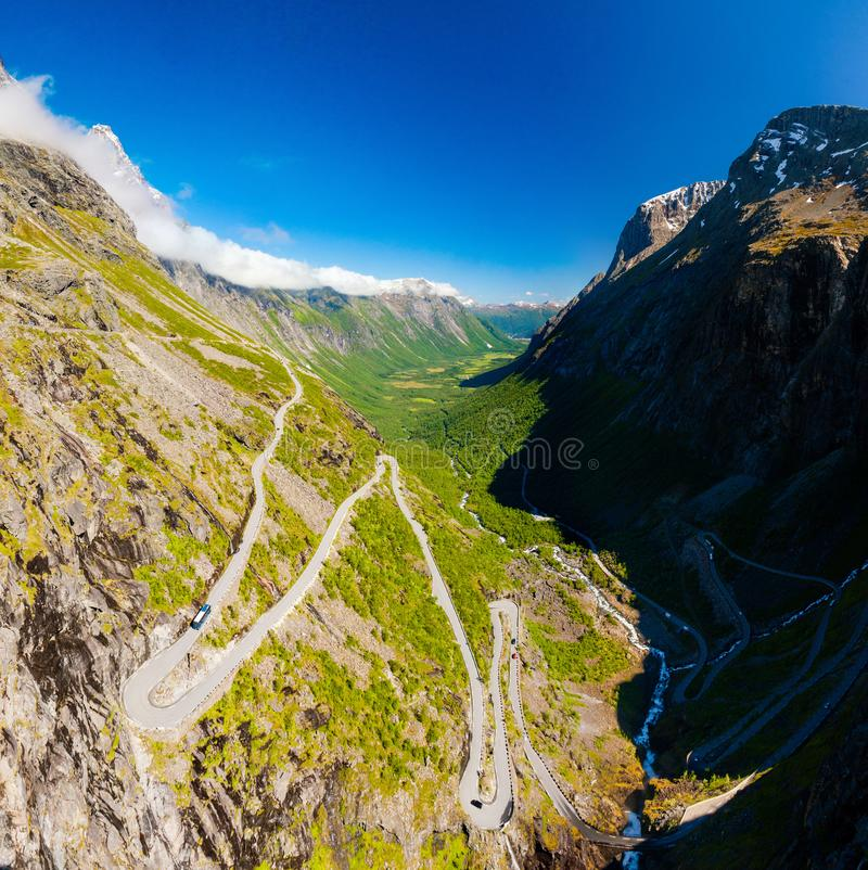 Famous Trollstigen serpentine mountain road with clear sky, Andalsnes, Norway stock image