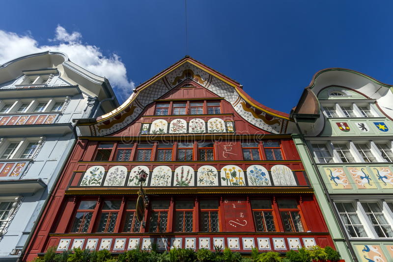 Famous typical houses in Appenzell village royalty free stock photos